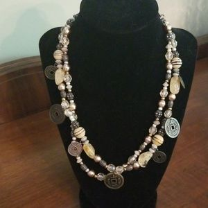Chico's I Ching Coin beaded necklace